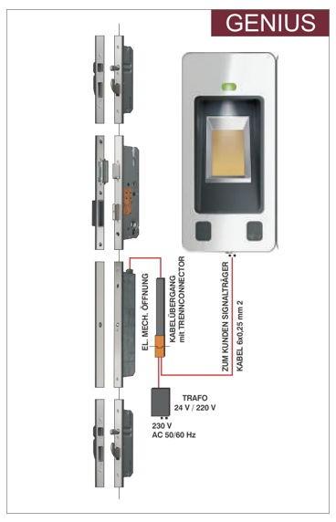 BT 502 5-fach Bolzen-Schwenkriegel ,elektromechanischer Antrieb, Fingerscan und Kabelübergang